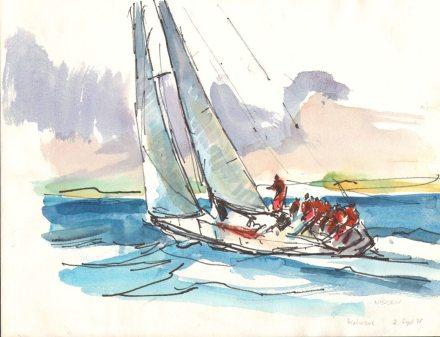 Zeichnung von Age Nissen - Das Werk des Künstlers wurde von Vincent Büsch im Museum inventarisiert.  Bild: Flensburger Schifffahrsmuseum