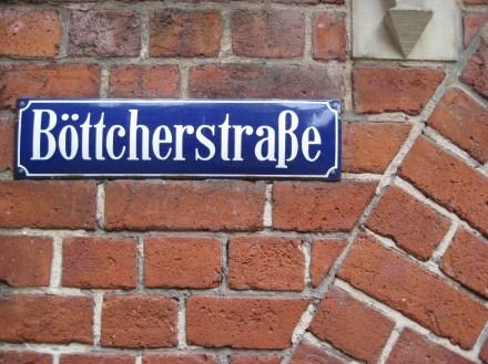 Straßenschild in der Böttcherstraße, Bremen.