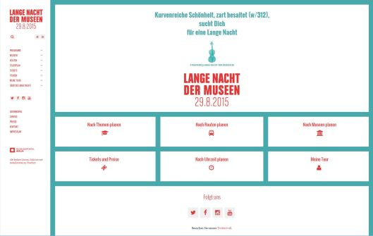 Screenshot der Webseite zur Langen Nacht der Museen in Berlin