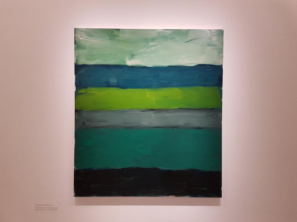 Landline Green White, 2014, Öl auf Aluminium, 215,9 x 190,5 cm