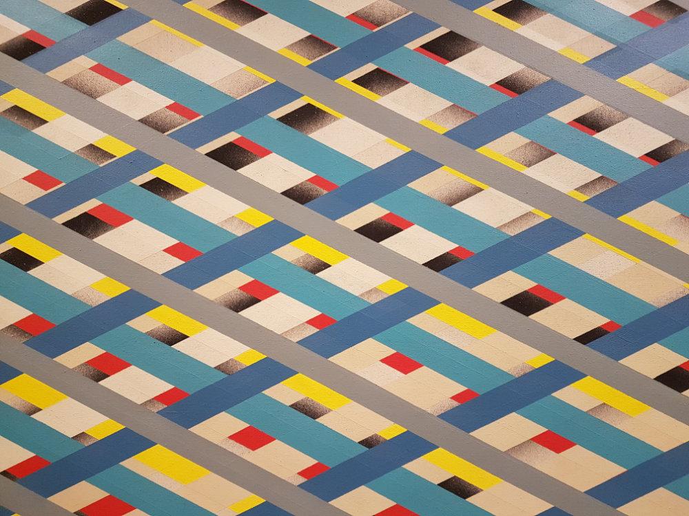 Ausschnitt Overlay 2, 1973, Acryl auf Leinwand, 213,4 x 243,8 cm
