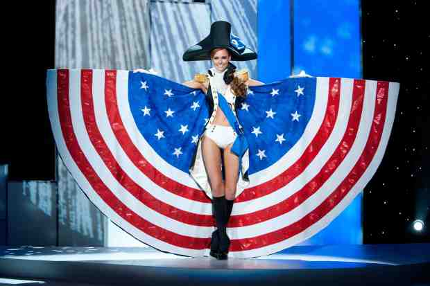 Miss USA 2011, Alyssa Campanella pre-tapes in her National Costume onstage at Credicard Hall on September 7, 2011. She is preparing to compete in the 2011 MISS UNIVERSE® Competition on September 12 at 9:00 p.m. ET broadcast LIVE on NBC from Credicard Hall in São Paulo, Brazil. Vote your favorite contestant into the semifinals on http://missuniverse.com/members/contestants. HO/Miss Universe Organization, L.P. LLLP