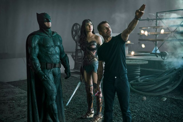 Ben Aflick (Batman) and Gal Gadot (Wonder Woman) with director Zack Snyder
