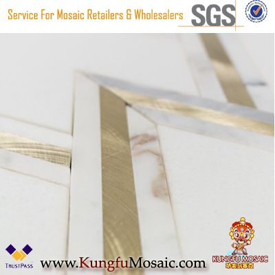white gold marble brass inlay waterjet