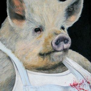 Schwein als Metzger / Schlachter, Druck auf LW