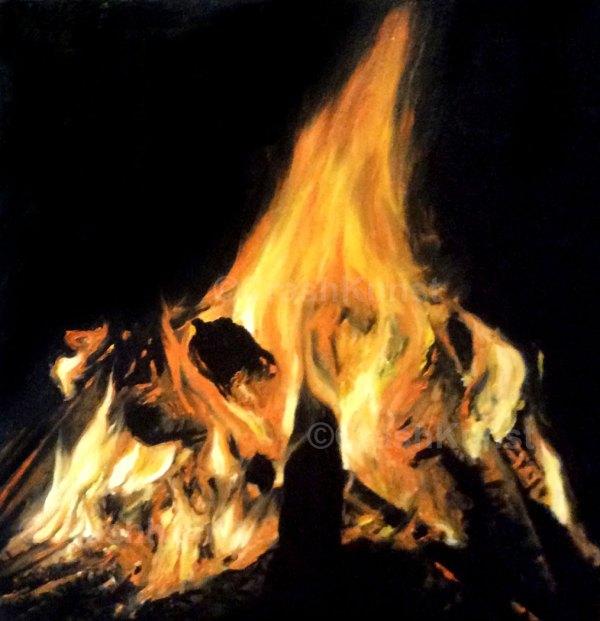 Original Ölgemälde, Feuer II