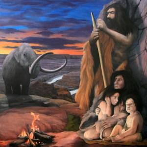 Urfamilie in der Steinzeit, Öl auf Lw