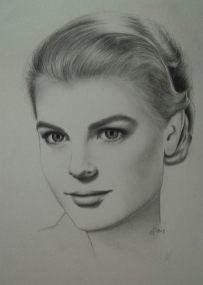 Grace Kelly. Gezeichnet mit Bleistift auf Papier A3