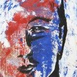 Kopf Blau Rot, Mischtechnik auf Papier 10x15cm