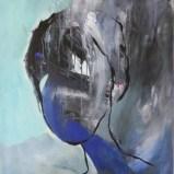 Kopf in Schwarz und Blau, Acryl auf Leinwand 92x73cm