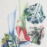 Absatzschwierigkeiten, Farbstift auf Papier + Abklatsch mit Acryl 50x60cm