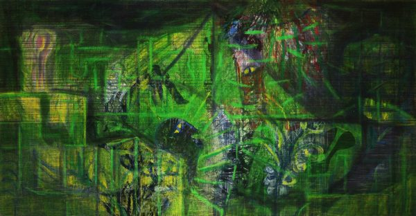 "Danjana Brandes - ""Idyll"", Mischtechnik auf selbst gewebter Leinwand, 2015"