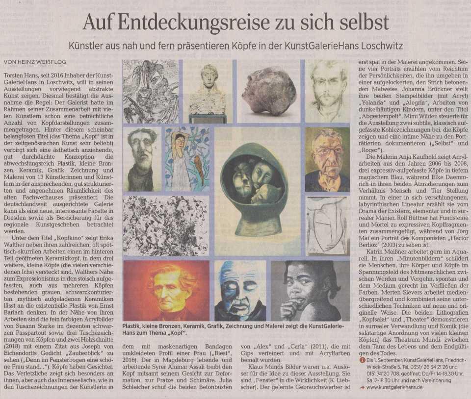 DNN Rezension zur Köpfe-Ausstellung in der KunstGalerieHans