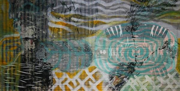 Danjana Brandes - Magnetfeld, Mischtechnik auf selbst gewebter Leinwand, 2016
