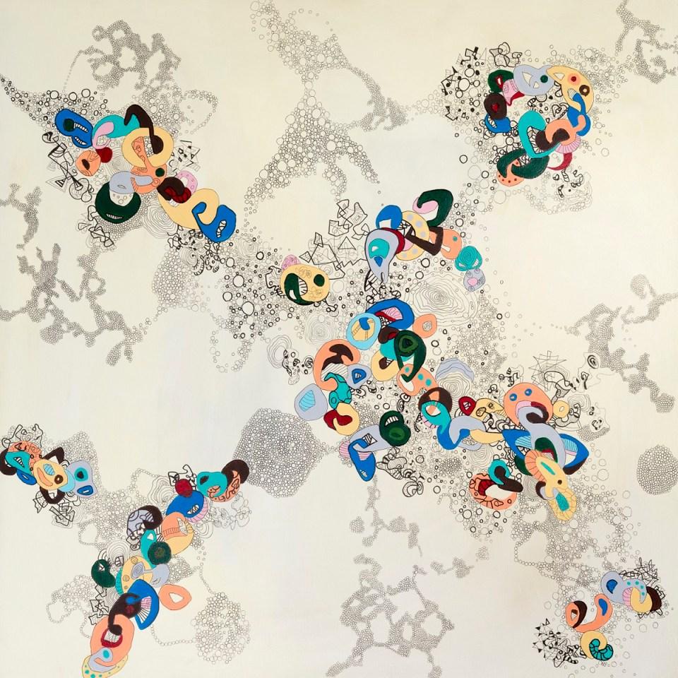 Anja Kaufhold - o. T., Acryl und Tuschestift auf Leinwand 2018, 80 x 80 cm