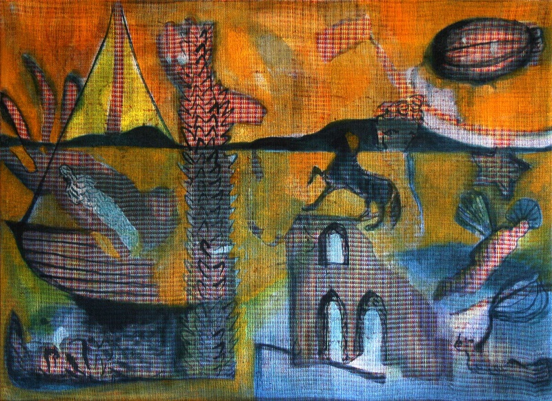 Danjana Brandes - Versunkene Stadt III (2014) Mischtechnik auf selbst gewebter Leinwand, 50 x 70 cm (KunstGalerieHans)