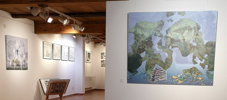 Blick vom Eingang in die Ausstellung Merten Sievers in der KunstGalerieHans 2019