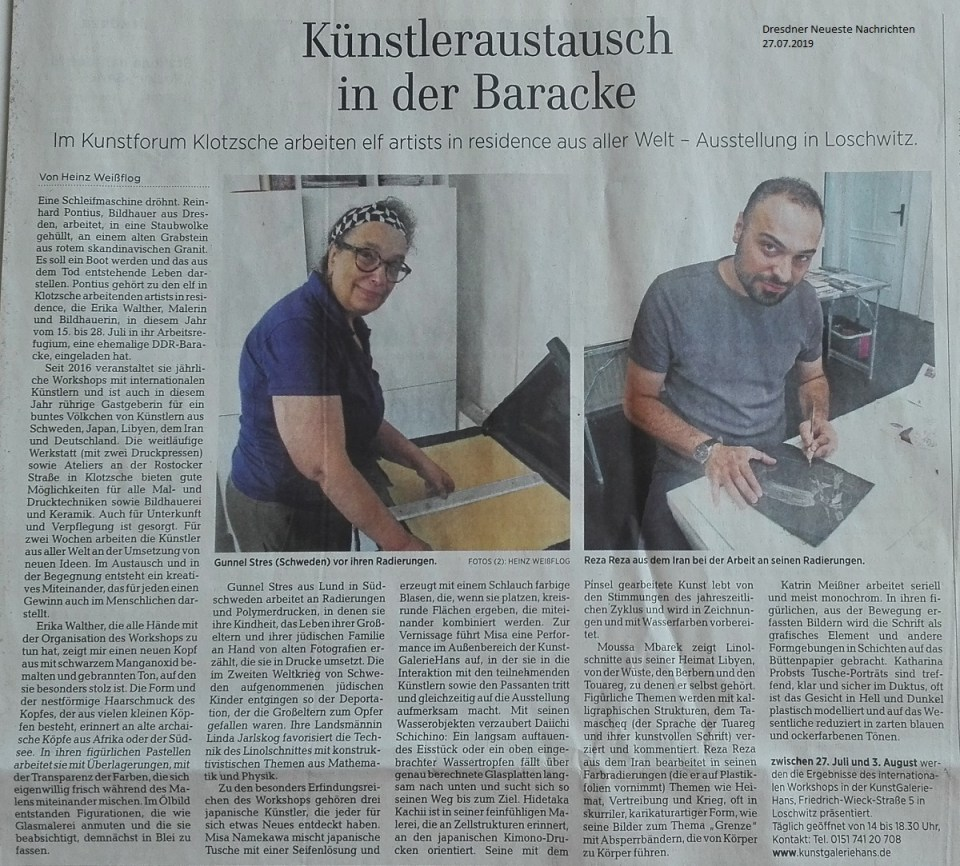 DNN-Artikel vom 27.7.19 zum AiR - int. Kunstworkshop