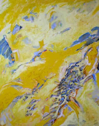 Helga Kellert-Leete - Grosses Gelb, Mischtechnik auf Leinwand 150 x 125 cm klein