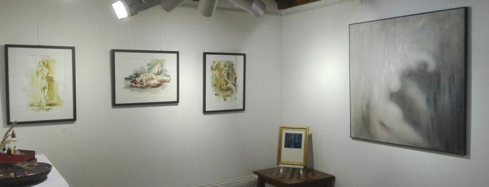 KunstGalerieHans - Ausstellung querbeet 2020 - Akt-Aquarell Jens Pischke und Akt-Malerei Katrin Meißner