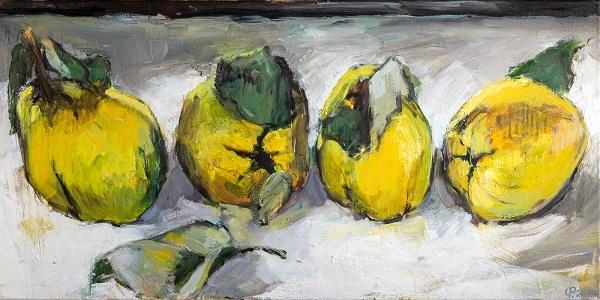 Quitten - Malerei Stillleben mit vier Quitten, Öl auf Leinwand 50 x 100 cm, 2020 von Uwe Peschel