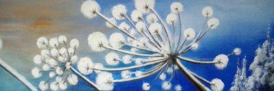 Marijke Dijkman, winterse berenklauw 40 x 120 acryl