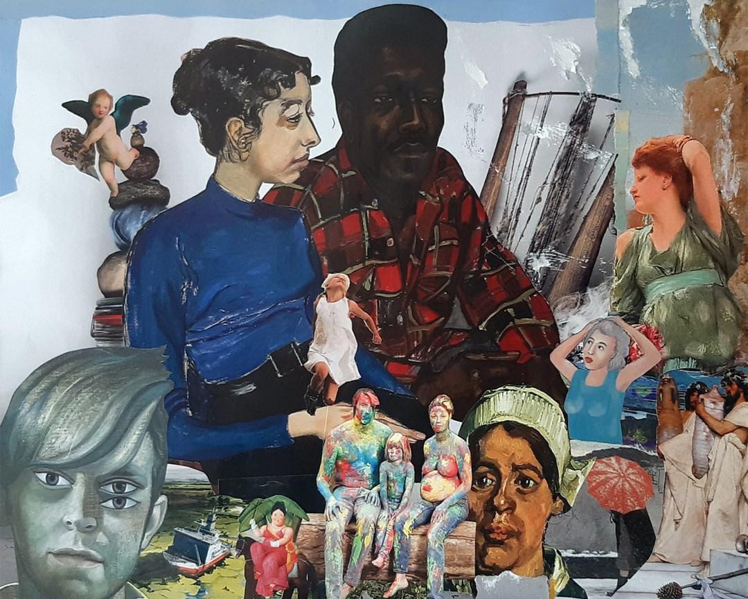 """Marten Bos, """"mijn nieuwe wereld"""", collage, 40 x 50 cm"""