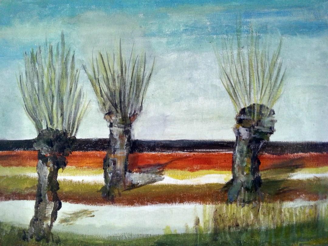 Fran Deenekamp, Winter wilgen, acryl op doek