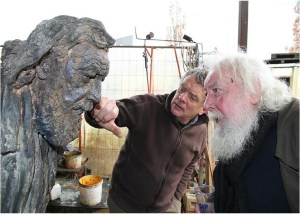 beeldhouwer Frans Heirbaut en Fred Bervoets