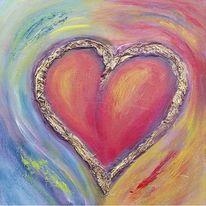 Herzbild Blau Silber Herz Bilder Abstrakt Gemalde Burgstaller