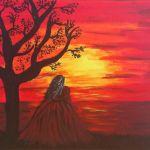 Romantic Woman Rot Meer Romantisch Sonnenuntergang Von Janine Thoms Bei Kunstnet