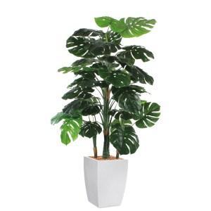 HTT - Kunstplant Monstera in Genesis vierkant wit H160 cm - kunstplantshop.nl