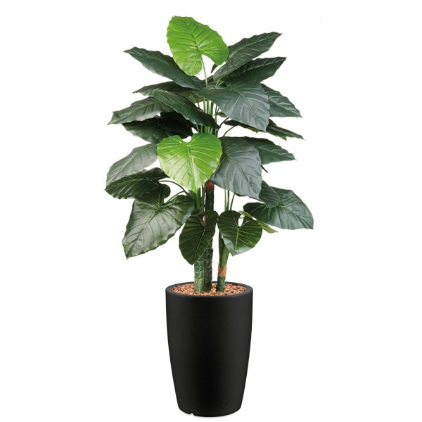 HTT - Kunstplant Philodendron in Genesis rond antraciet H150 cm - kunstplantshop.nl