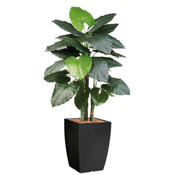 HTT - Kunstplant Philodendron in Genesis vierkant antraciet H150 cm - kunstplantshop.nl