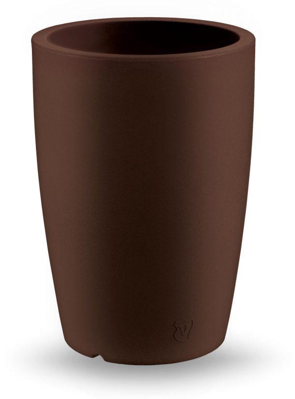 VECA plantenbak Genesis, rond, hoogte 60 cm, doorsnede 43 cm, bruin - kunstplantshop.nl