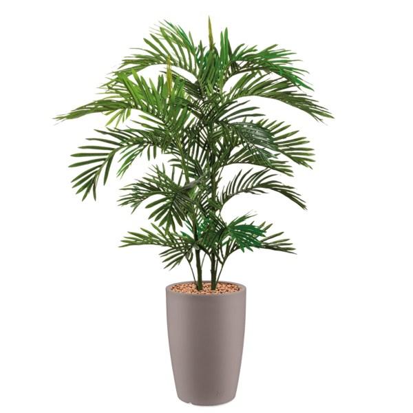 HTT - Kunstplant Areca palm in Genesis rond taupe H150 cm - kunstplantshop.nl