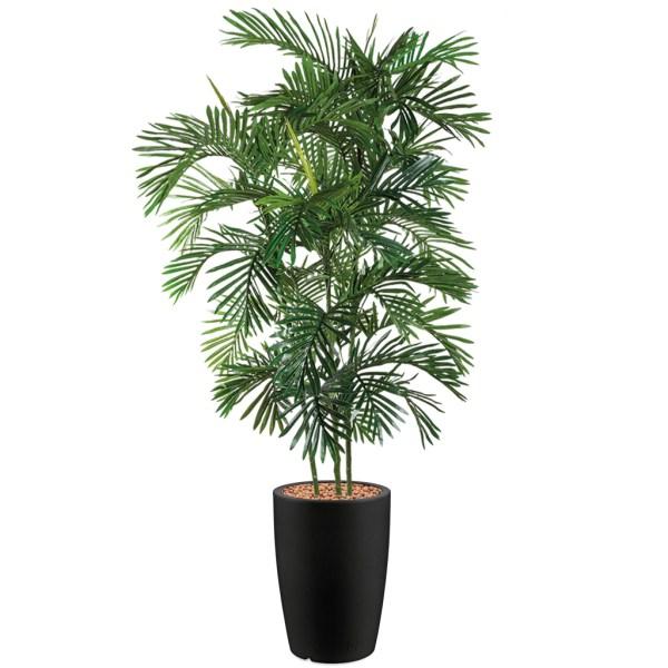 HTT - Kunstplant Areca palm in Genesis rond antraciet H210 cm - kunstplantshop.nl