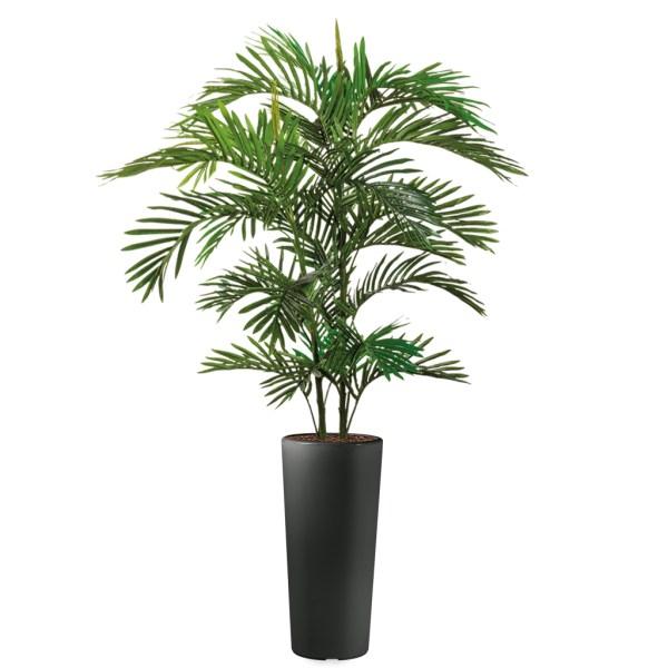 HTT - Kunstplant Areca palm in Clou rond antraciet H185 cm - kunstplantshop.nl