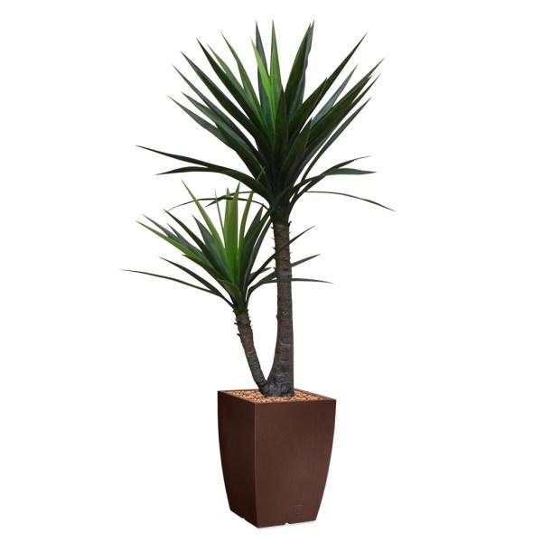 HTT - Kunstplant Yucca in Genesis vierkant bruin H150 cm - kunstplantshop.nl