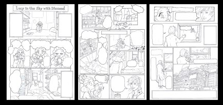 lucy 3 pages lineart by pink gizzy