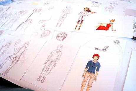 Skizzen und ausgearbeitete farbige Darstellungen.