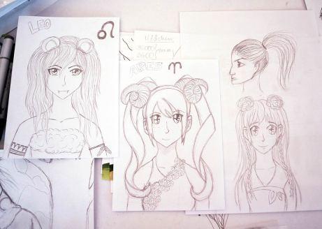 Skizzen von verschiedenen Mangagirls