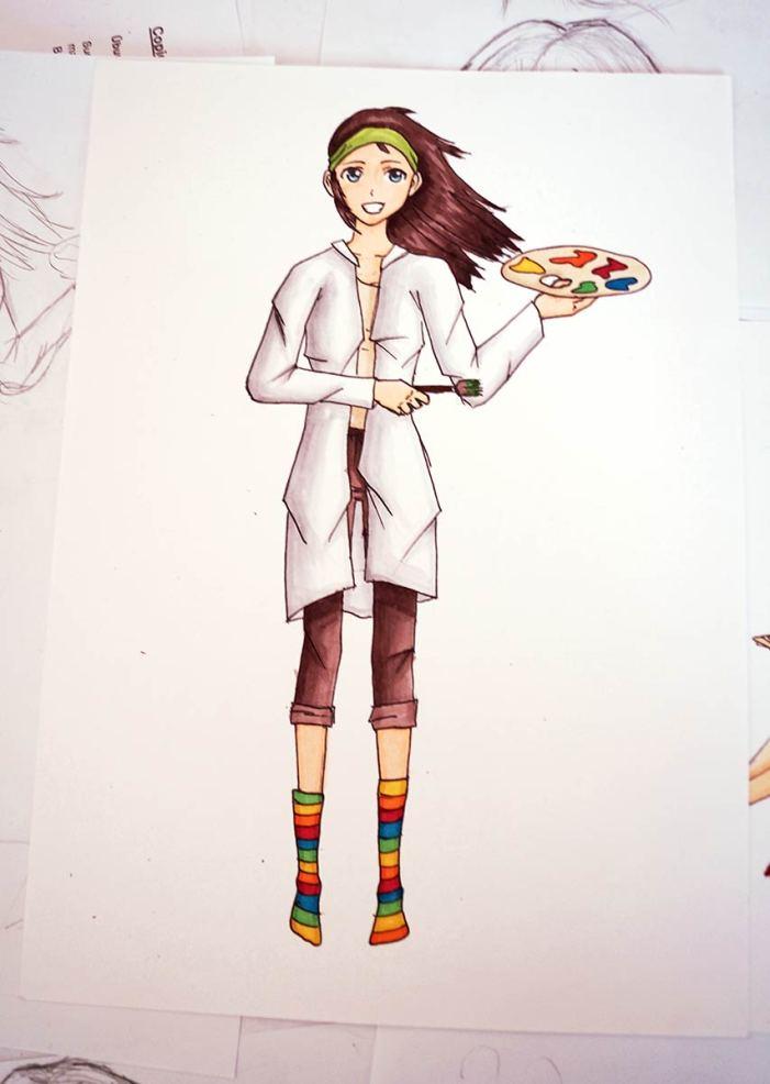 Stehendes Mangamädchen mit Malerkittel, Pinsel und Farbpalette.