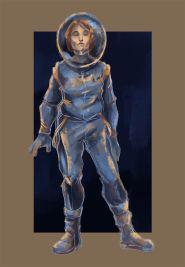Astronautin gezeichnet wie mit Kreide. (Viktoriya Korshunova)