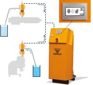Die Duo Fördereinheit von Koch-Technik kann zwei Kunststoffverarbeitungs-Stationen oder Granulattrockner mit Material bedienen. | Foto: Koch-Technik