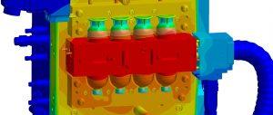 Die Prozessauslegung des 2-K-Eierbechers auf der umgerüsteten 1-K-Maschine erfolgt mit Sigmasoft Virtual Molding vorab.   Grafik: Sigma