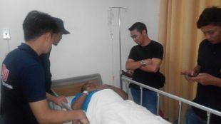 Danramil Rumpin Kapt. Hassan Bisri menjalani perawatan di RS. BMC, kota Bogor stelah ditabrak oleh pembalap liar (dok. KM)