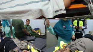 Seorang tentara dan polisi menjadi korban kecelakaan lalu lintas saat mengamankan jalur saat kunjungan kerja Presiden Joko Widodo di Rumpin, Kab. Bogor.