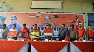 """Peluncuran """"Aceh World Solidarity Cup 2017"""" di Hotel Hermes, Banda Aceh 12/11 (dok. KM)"""