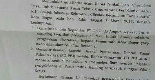 Surat yang ditandatangani oleh Plt Walikota Bogor terkait pengelolaan Pasar Induk Kemang (dok. KM)